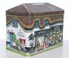 Silver Crane Antique Cottage House Tin Container 94
