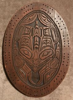 First Nations  -  carved cribbage board