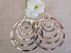 Big Gypsy Circles Hand Forged Sterling Silver and 14Kt Gold Filled Gypsy Circles  http://wisteriaearrings.com/products/big-gypsy-circles