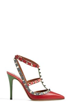 MObsessed with this multicolored Valentino 'Rockstud-Italian Pop' pointy toe pump.