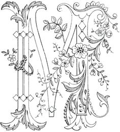 Embroidery design tutorial on hand Embroidered & # M & # about the fabulous Mary Corbet . Embroidery design tutorial on hand Embroidered & # M & # about the fabulous Mary Corbet Nee Embroidery Letters, Ribbon Embroidery, Embroidery Stitches, Embroidery Designs, Colouring Pages, Adult Coloring Pages, Coloring Books, Alphabet Art, Letter Art