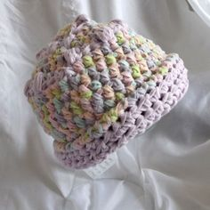 Crochet Baby Hat Pastels Fleecey Infant Girl by WildHeartYarnings