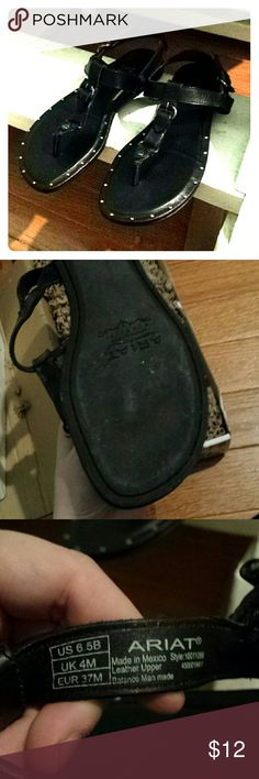 Ariat black sandals size 6.5 Ariat black sandals size 6.5. Comfortable and gently used. But ariat is a quality brand. Similar to frye. Last for a long time Ariat Shoes Sandals