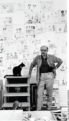 Saul Steinberg and his feline companion