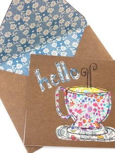 kraft•tex™ gift card and envelope.  Easy stitching and so cute! Designed by Mary Dugan Paper Art, Paper Crafts, Cork Fabric, Free Motion Embroidery, Gelli Printing, Easy Stitch, Sewing Art, Mail Art, Homemade Gifts