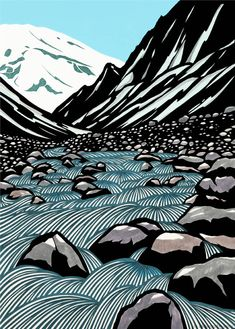 I am a huge fan of linocut prints. One of these days, I aspire to learn the basics of this so that I Lino Art, Woodcut Art, Linocut Prints, Art Prints, Block Prints, Art And Illustration, Gravure Illustration, Mountain Illustration, Illustrations Posters