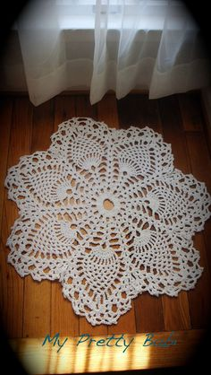Crochet Rug in 100 Cotton Yarn in white  Made to by myprettybabi, $56.00