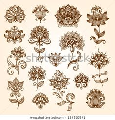 Find Ornamental Flowers Vector Set Abstract Floral stock images in HD and millions of other royalty-free stock photos, illustrations and vectors in the Shutterstock collection. Estilo Mehndi, Arte Mehndi, Mehendi, Flor Henna, Henna Mandala, Henna Art, Mandala Tattoo, Mehndi Designs, Tattoo Designs
