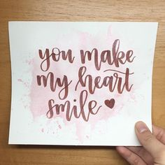 You make my heart smile - Lettering letters Calligraphy Quotes Doodles, Brush Lettering Quotes, Calligraphy Cards, Calligraphy Drawing, Hand Lettering Alphabet, Watercolor Lettering, Typography Quotes, Calligraphy Heart, Drawing Quotes