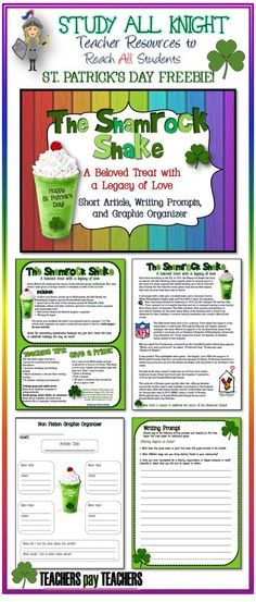 FREE! The Shamrock Shake: A Beloved Treat with a Legacy of Love. Happy St. Patrick's Day! Short Article, Writing Prompts, and Organizer.