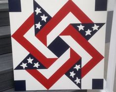 Items similar to Blue Barn Quilt - 14 inch on Etsy Flag Quilt, Patriotic Quilts, Star Quilts, Quilt Blocks, 3d Quilts, Star Blocks, Barn Quilt Designs, Barn Quilt Patterns, Quilting Designs