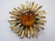 Gold Plated Amber Rhinestone Starburst by MissieMooVintageRoom