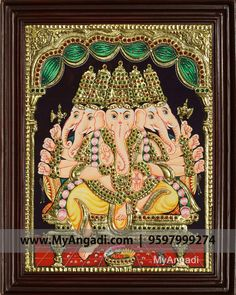 Traditional Handmade Panchamuga Ganesha Tanjore Painting crafted on plywood with 22 carat gold foil, semi-precious stones, paints and framed with best Teak Wood. Tanjore Painting, Gold Work, Ganesha, Indian Art, Folk, Paintings, Culture, Stone, Goddesses