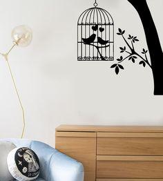 Wall Stickers Vinyl Decal Bird Cage Tree Branch Love Heart Decor (ig118)