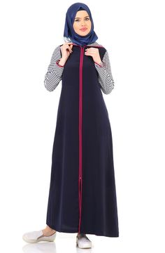 Peçem Hooded Sport Ferace 6031 Navy Blue – Best Of Likes Share Modest Dresses, Modest Outfits, Simple Dresses, Hijab Chic, Hijab Casual, Abaya Fashion, Fashion Dresses, Muslim Women Fashion, Modele Hijab