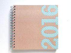 2016 Weekly Planner/Diary - Handmade by Miss Meg Shop #2016 #twentysixteen #planner #diary #stationery #handmade #etsy #missmegshop #recycled #paper #kraft #polkadots #blue #organise #organize #newyear #newyearsresolutions #goals