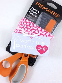 "My Crafty Valentines ""we're the perfect pair"" @fiskars_hq scissors and a fat qtr of fabric - give the sewist what she loves."