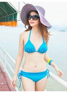 Charming Blue Polyester Lace Up Artwork Women's Bikini Swimwear - swimsuits - Women's Clothing