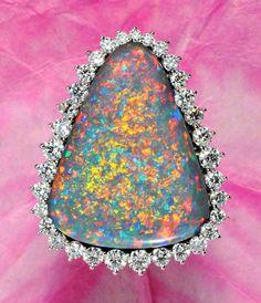 Black Opal/diamond  Ring www.hammerandgem.com