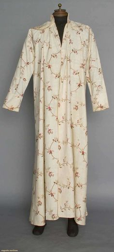 GENT'S PRINTED BANYAN, c. 1800 Block printed cream cotton, pattern of brown vines, blue & red leaves & red carnations & roses, single front button closure, high band neck w/ pellerine-style collar, long sleeves, turnback cuffs, seam on top & bottom of sleeve & w/o armscye seam, L 57""