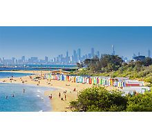 Brighton Bath Huts and the Melbourne Skyline Photographic Print