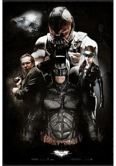 The Dark Knight Rises, this poster shows all the main characters, I like this because this may attract more audience towards it if you like any of the other characters other than just Batman. The Dark Knight Trilogy, The Dark Knight Rises, Batman The Dark Knight, Bane Batman, Batman Art, Batman Robin, Alternative Comics, Alternative Movie Posters, Indiana Jones