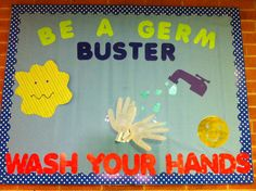 My hand washing board! Disney Bulletin Boards, Nurse Bulletin Board, Health Bulletin Boards, Classroom Bulletin Boards, Carnival Decorations, Office Decorations, School Nurse Office, Hand Washing Poster, School Health