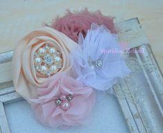 Ivory Christening headband,Blush lace headband,Pink headband,Delicate Headband,White headband,Vintage headband,Newborn headband,infant girls