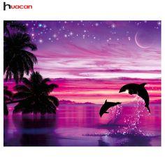 Full Square/Round Drill Dolphin Cross Stitch Kits DIY Diamond Painting Mosaic Landscape Embroidery Diamond Resin Painting Art Home Decor Dolphin Painting, Dolphin Art, Diy Painting, Images D'art, Image Nature, Hand Painted Walls, Delphine, Diamond Art, Diamond Shapes