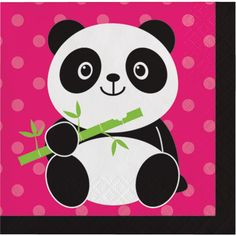 "Just what's needed to set the table at your Panda Bear Party! + Package contains (16) beverage/dessert napkins as pictured + Each napkin is 2-ply + Each folded napkin measures approx. 5"" x 5"" square F"