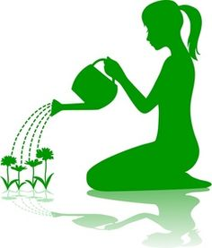 Gardening  http://www.rosiepiter.com/clipart_illustrations/green_silhouette_of_a_young_woman_or_girl_kneeling_and_watering_flowers_in_a_garden_0071-1002-1402-3324_SMU.jpg