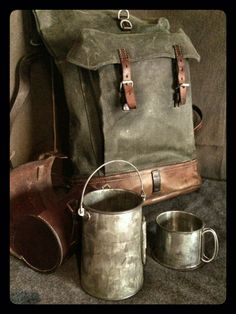 Swiss Army Canvas & Leather Roll-top Rucksack Vintage Swiss Canvas Rucksack with Billy Can & CaseVintage Swiss Canvas Rucksack with Billy Can & Case Leather Roll, Leather Craft, Leather Bags, Canvas Travel Bag, Vintage Canvas, Swiss Army, Plein Air, Camping Gear, Canvas Leather