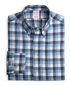 Linen Regular Fit Windowpane Sport Shirt