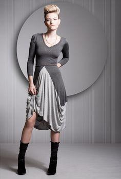 Grey Dress, Gray Dress, Cotton Lycra Dress, Long Sleeves Dress, Gray Robe, Any Sizes, Knee Length - Special Sale. $49.00, via Etsy.
