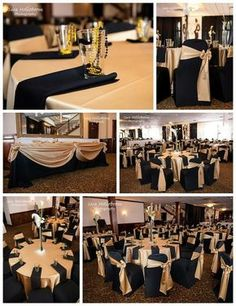 Black Gold Party Great Black and Gold Tables for a Wedding or a Birthday Party! 70th Birthday Parties, 50th Party, Birthday Sash, Birthday Balloons, 80th Birthday Party Decorations, Gold Birthday Party, Birthday Centerpieces, Themed Parties, Cake Birthday