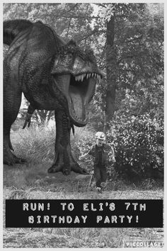 "Borrowed the idea from a toddlers Bday invite I found online. Free ""add a dinosaur to your picture"" app! Used photo collage to add text to the photo invite!"
