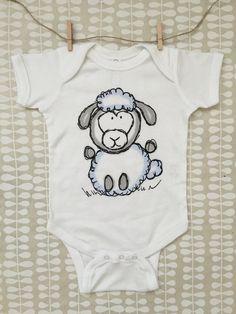 White Lucy Sheep Lamb Cotton Baby Bodysuit // Farm Baby// Baby Gift // New Baby // Baby Outfit // Sheep Baby Fashion Line, New Fashion, Sheep Nursery, Baby Bodysuit, Baby Onesie, Sheep And Lamb, First Baby, Gifts For Family, Little Boys