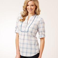 Ladies' Collarless Check Shirt - Birch / Blue