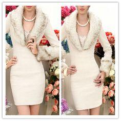 Clearance : WHITE WOOL DRESS silver FUR DEEP V COLLAR ELEGANT FINAL CLEARANCE GHL0021