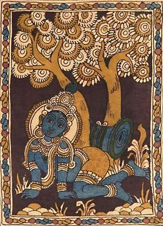 Kalamkari Paintings (Andhra Pradesh) -bal-krishna-under -. - Indian Painting Styles … Kalamkari Paintings (Andhra Pradesh) -bal-krishna-under-kadamba-tree - Kalamkari Painting, Krishna Painting, Madhubani Painting, Ancient Indian Art, Indian Folk Art, Kerala Mural Painting, Indian Art Paintings, Art Village, Phad Painting