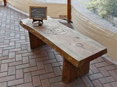 Hand-crafted bench as an alternate guest book