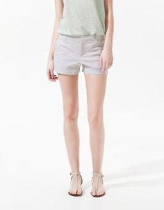 STRIPED SHORTS - Shorts - Woman - ZARA United States cute with a tee and sandals or flowy blouse and heels
