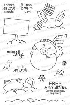 Winter Tails | 4x6 photopolymer Stamp Set | Newton's Nook Designs