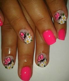 Pretty pink butterfly nail art design for summer Beautiful Nail Art, Gorgeous Nails, Perfect Nails, Pretty Nails, Green Nail Designs, Flower Nail Designs, Nail Art Designs, Long Nail Art, Cute Nail Art