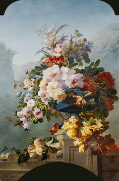 Pierre Bourgogne-Rosen und andere Blumen in einem blauen Gefäß.