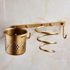 Multi Function Bathroom Hair Dryer Holder Wall Mounted Rack Antique Copper  Shelf Storage Organizer Hairdryer
