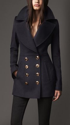 Burberry London Wool Cashmere Pea Coat. beautiful, but it needs a scarf, and i hate scarfs sometimes.