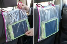 Make your own tablet holder for road trips. These car hacks and organization tips are perfect for moms!