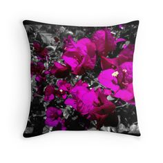 """""""Hot pink bougainvilleas over monochrome background"""" Throw Pillows by cesarpadilla 