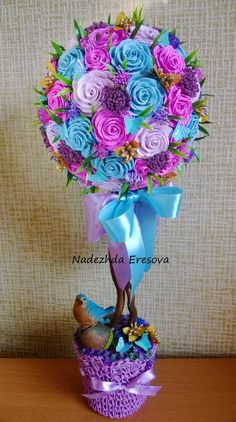 Silk Flowers, Paper Flowers, Fun Crafts, Diy And Crafts, Birthday Wishes For Son, Hand Bouquet, Arte Floral, Luau Party, Flower Boxes